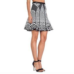 Diane Von Furstenberg Black & White Intarsia Skirt
